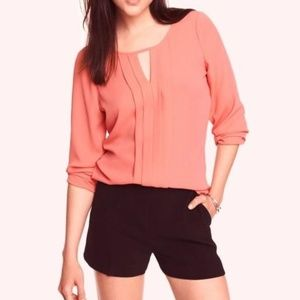 Express Pleated Keyhole Blouse Top Coral S